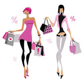 Women with shopping bags. — Stock Vector