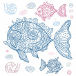 Sea Fish set. Hand drawn vector illustration. — Stock Vector