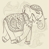 Elephant. Indian style. — Stock Vector
