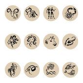 Signes étoiles du zodiaque horoscope, set vector. — Vecteur