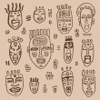 African Masks set. — Image vectorielle