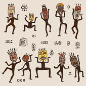 Dancing figures wearing African masks. — Stock Vector