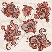 Hand Drawn Paisley Ornament set. — Stock Vector