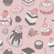 Cute cake. Seamless background. — Image vectorielle