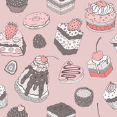 Cute cake. Seamless background. — Stok Vektör