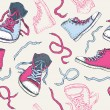 Sneakers. Shoes Seamless pattern. — Vettoriali Stock