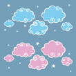 Blue Clouds with White Border — Stock Vector