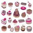 Set of cute cake. — Vektorgrafik