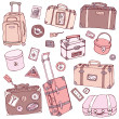 Vector Collection of vintage suitcases. — Stock Vector