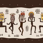 Dancing figures wearing African masks. — Stock Vector