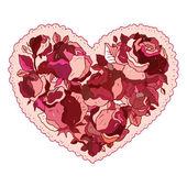 Coração de flores rosas. — Vetor de Stock