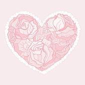 Corazón de flores rosas. — Vector de stock