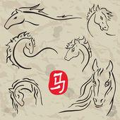 Konie symboli. Zodiak chiński 2014. — Wektor stockowy