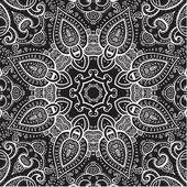 Lace background. White on black. Mandala. — Stock Vector