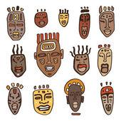 African Masks set. — Stock Vector