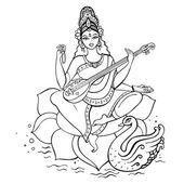 Deusa hindu saraswati. — Vetor de Stock