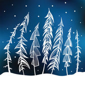 Forest. Winter background. — Stock Vector