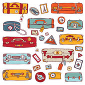 Vintage suitcases set. Travel Vector illustration. — Stock Vector
