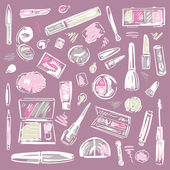Cosmetics.  Makeup set. — Stock Vector