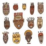 African Masks set. — Stock Vector #47165157