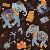 Elephant. Seamless Vector pattern. — Stock Vector