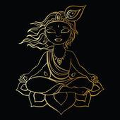 Hindu God Krishna. — Stock Vector