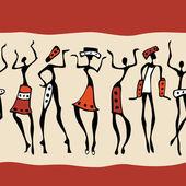 Sylwetka afrykańskich tancerzy. — Wektor stockowy