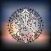 Ganesha illustrazione a mano. — Vettoriale Stock
