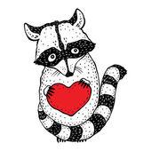 Raccoon carrying a heart. — Vector de stock