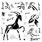 Goat 2015 set. New year Symbol. — Vector de stock