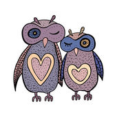 Two cute decorative owls. — Stock Vector