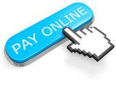 Botão pagamento on-line e o cursor de mão — Foto Stock