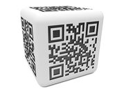 Monochromatic QR cube — Stock Photo