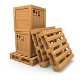 Wooden boxes with print on pallet, pile of pallets — Stock Photo