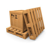 Wooden box and two pallet — Stock Photo