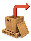 Open wooden box and red bent arrow. Extract concept. — Stock Photo