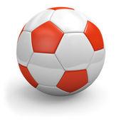 Soccerball branco-vermelho. closeup. — Foto Stock