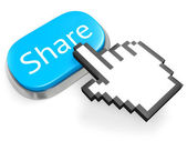 Blue button Share and hand cursor — Stock Photo