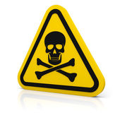 Yellow triangle warning deadly sign — Stock Photo