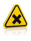 Yellow warning sign with irritant symbol — Stock Photo