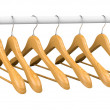 Wooden hangers on rail 2 — Stock Photo