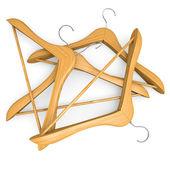 Pile of wooden hangers — Stock Photo