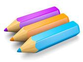 Pencils set blue, orange, violet — Stock Photo