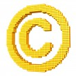 Yellow pixelated copyright symbol — Stock Photo