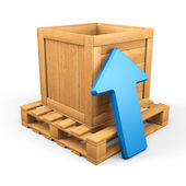 Wood box download concept — Stock Photo