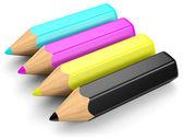 CMYK pencil concept — Stock Photo