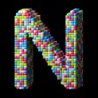 Stock Photo: 3d pixelated alphabet letter N