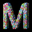3d pixelated alphabet letter M — Stock Photo