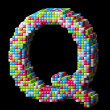 Stock Photo: 3d pixelated alphabet letter Q