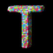3d pixelated alphabet letter T — Stock Photo